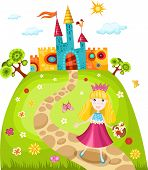 stock photo of fairy-tale  - vector illustration of a cute princess and castle - JPG