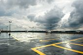 image of rainy day  - View on top stage of the rainy parking - JPG
