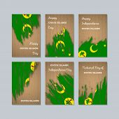 Cocos Islands Patriotic Cards For National Day. Expressive Brush Stroke In National Flag Colors On K poster