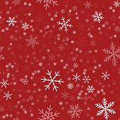 White Snowflakes Seamless Pattern On Red Christmas Background. Chaotic Scattered White Snowflakes. A poster