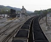 pic of railcar  - railcars loaded with coal on a early spring morning - JPG