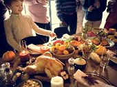 People Celebrating Thanksgiving Holiday Tradition Concept poster