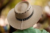 picture of taxco  - Wicker hat with beautiful bokeh background Very shallow depth of field - JPG