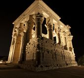 stock photo of isis  - Kiosk of Trajan in the Temple of Isis on Philae Island by Aswan at night - JPG