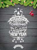 Vector Merry Christmas Holiday And Happy New Year Illustration With Typographic Design And Snowflake poster