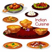 Indian cuisine thali dishes cartoon icon. Rice curry with chicken and fish, pork pilau, flat bread, shrimp saffron soup, fried feta cheese, nut cookie and lentil corn soup for asian food design