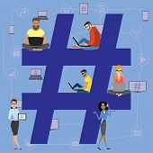 Hashtag Concept Illustration. poster