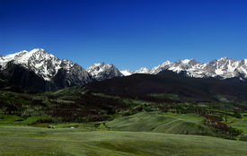 stock photo of mountain-range  - Summer snow on the east side of the Gore Range - JPG