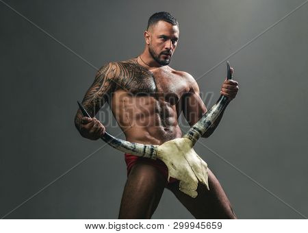 poster of Desire Is The Energy Force. Sexy Latino Man Showing His Sexual Desire And Attraction. Muscular Hispa