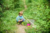 Little Helper In Garden. Planting Flowers. Growing Plants. Take Care Of Plants. Boy With Watering Ca poster