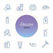 Skincare Icon. Set Of Line Icons On White Background. Hand Cream, Body Lotion, Shaving Razor. Beauty poster
