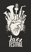 Vector Music Poster With Human Heart, Wind Instruments And Microphone. Abstract Musical Illustration poster