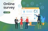 Man Choosing Answers For Online Survey. Online Test, Computer, Diagram. Online Survey Concept. Vecto poster