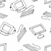Vector Illustration Of Old And New Monitors. Keyboard With An Lcd Monitor. Hand Drawn Crt Monitor. S poster