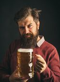 Senior Man Drinking Beer With Surprise Face. Beer Types And Styles. Retro Man With A Beer. Man Holdi poster