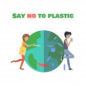 Nice Girl With Eco Bag Hugs The Planet. The Bad Guy Is Drinking From The Plastic Strow And  Plastic  poster