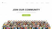 Join Our Community. Crowd Of United People As A Business Or Creative Community Standing Together. Fl poster