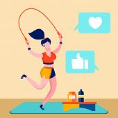 Sport Blog, Fitness Online Channel Illustration. Sportswoman Working Out Cartoon Character. Fitness  poster