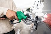 Hand Refilling The Car With Fuel At The Refuel Station. Grey Car At Gas Station Being Filled With Fu poster