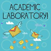 Conceptual Hand Writing Showing Academic Laboratory. Business Photo Text Where Students Can Go To Re poster