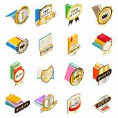 Excellent Book Icons Set. Isometric Set Of 16 Excellent Book Vector Icons For Web Isolated On White  poster