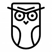 Angry Owl Icon. Outline Angry Owl Vector Icon For Web Design Isolated On White Background poster