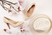 Nude Colored High Heels Shoes And Magnolia Flowers. Spring Summer Woman Style, Urban Romantic Outfit poster