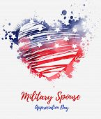 Military Spouse Appreciation Day - Holiday In United States Of America. Abstract Grunge Watercolor F poster
