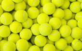 Lots Of Vibrant Tennis Balls, Pattern Of New Tennis Balls For Background poster