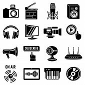 Multimedia Internet Icons Set. Simple Illustration Of 16 Multimedia Internet Icons For Web poster
