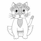 Cartoon Cat With Flower On The Head For Coloring Book Or Pages poster