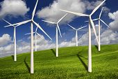 picture of wind-turbine  - Beautiful green meadow with Wind turbines generating electricity - JPG