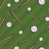 Color Baseball Seamless Pattern With Baseball Bats And Baseball Balls On Green Field Background. Vec poster