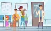Professional Veterinarian. Pets With Their Owners In Reception At The Vet Clinic Vector Background.  poster
