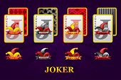 Set Of Four Jokers Playing Cards Suits For Poker And Casino. Joker Poker Symbols For Casino And Gui  poster