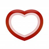 Red Pastel Color Wood Frame Heart Shape Isolated White Background, Heart-shape Frame For Lover Photo poster