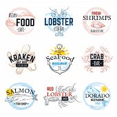 Seafood Sketch Logos. Vintage Hand Drawn Marine Labels, Salmon Tuna Squid And Octopus Emblem Design. poster