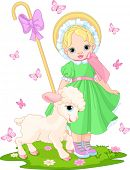 foto of shepherdess  - Little shepherdess with newborn lamb in  the spring meadow - JPG
