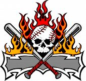 stock photo of fastpitch  - Flaming Baseball Bats and Skull Template Image - JPG