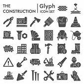 Construction Glyph Icon Set, Repair Symbols Collection, Vector Sketches, Logo Illustrations, Buildin poster