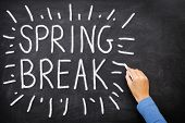 stock photo of easter_break  - Spring break blackboard - JPG