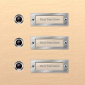 Row of bell buttons with labels for names, vector illustration