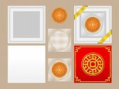 Top View Of Round Chinese Moon Cake Isolated On Brown Background With Box White And Red, Plastic Tra poster