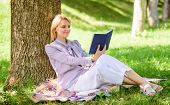 Business Lady Find Minute To Read Book Improve Her Knowledge. Female Self Improvement. Girl Lean On  poster