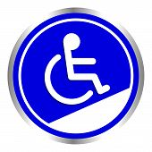 Disabled Signs Circle Frame Blue Colors Background, Sign Boards For Disability Slope Path Ladder Way poster