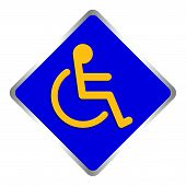 Disabled Signs Square Blue Colors Frame Background, Sign Boards For Disability Slope Path Ladder Way poster