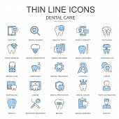 Thin Line Dental Care, Dentistry Equipment Icons Set For Website And Mobile Site And Apps. Contains  poster