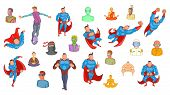 Super Heroes Icon Set. Cartoon Set Of Super Heroes Icons For Your Web Design Isolated On White Backg poster