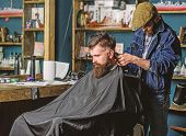 Barber With Hair Clipper Works On Haircut Of Bearded Guy, Retro Barbershop Background. Hipster Hairs poster