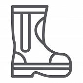 Fire Rubber Boots Line Icon, Fireman And Clothes, Firefighter Boots Sign, Vector Graphics, A Linear  poster